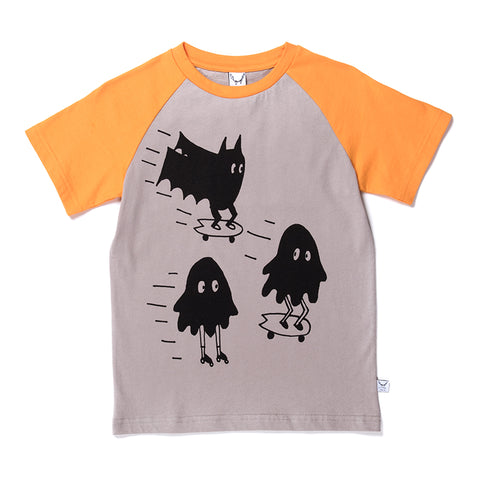 Cruising Monsters Raglan Tee - Slate/Light Orange
