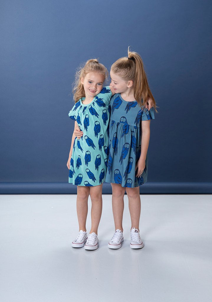 Littlehorn Hoot Hoot Dress - Mid Blue