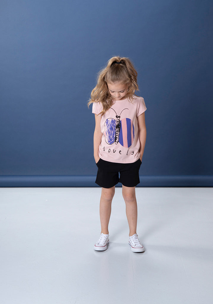 Lovely Butterfly Tee - Powder Pink