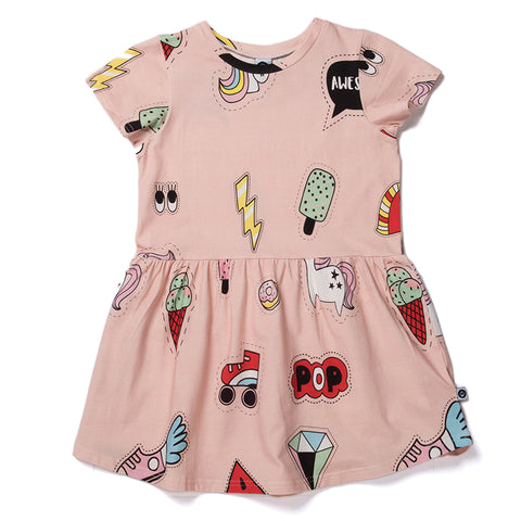Badges Dress - Powder Pink