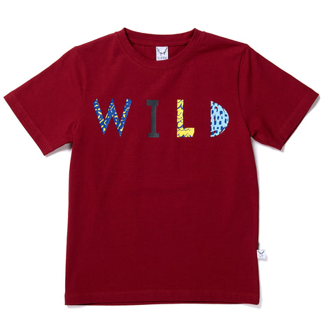 Wild Typography Tee - Dark Red