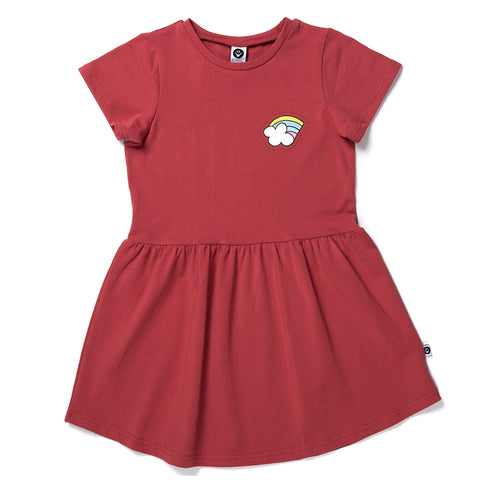Rainbow Badge Dress - Cherry