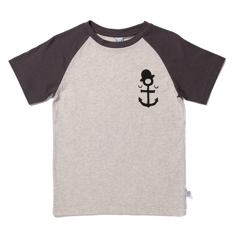 Littlehorn Anchor Man Raglan Tee - Light Grey/Oil