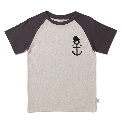 Anchor Man Raglan Tee - Light Grey/Oil