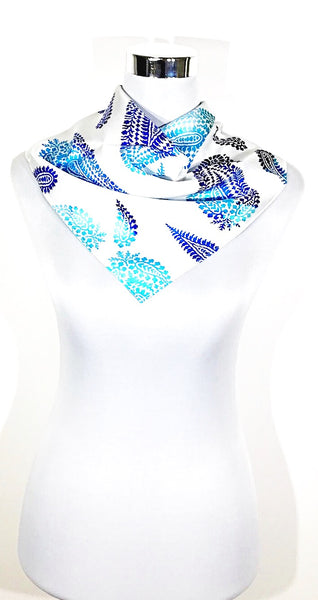 Silk Mini Blue Abstract scarf