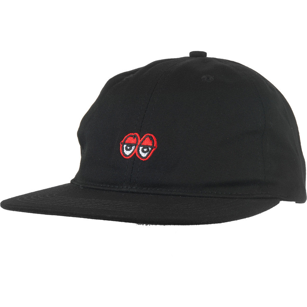 KROOKED - EYES EMBROIDERED STRAPBACK HAT - BLACK
