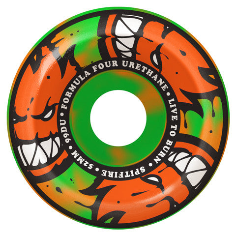 Formula Four 99D Afterburners Orange/GreenSwirl Conical Full 56MM