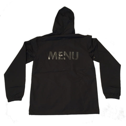 MENU - HOODED WATERPROOF COACH JACKET - BLACK