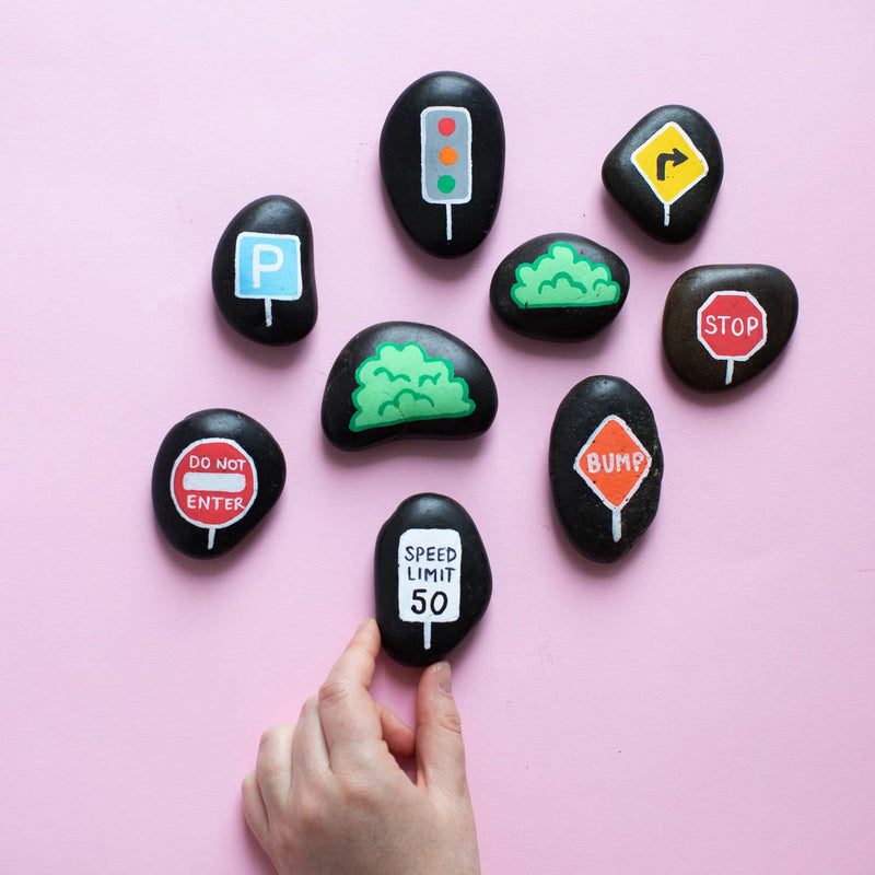 Winter Craft: Painted Rock Road Signs 🚦