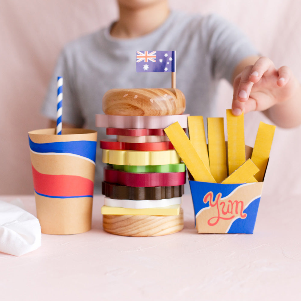 Craft: add a drink & fries to your wooden toy Burger 🍔