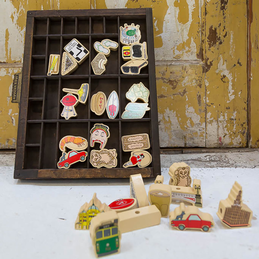 Make Me Iconic wood toy Australian Gifts Souvenirs Melbourne threading blocks
