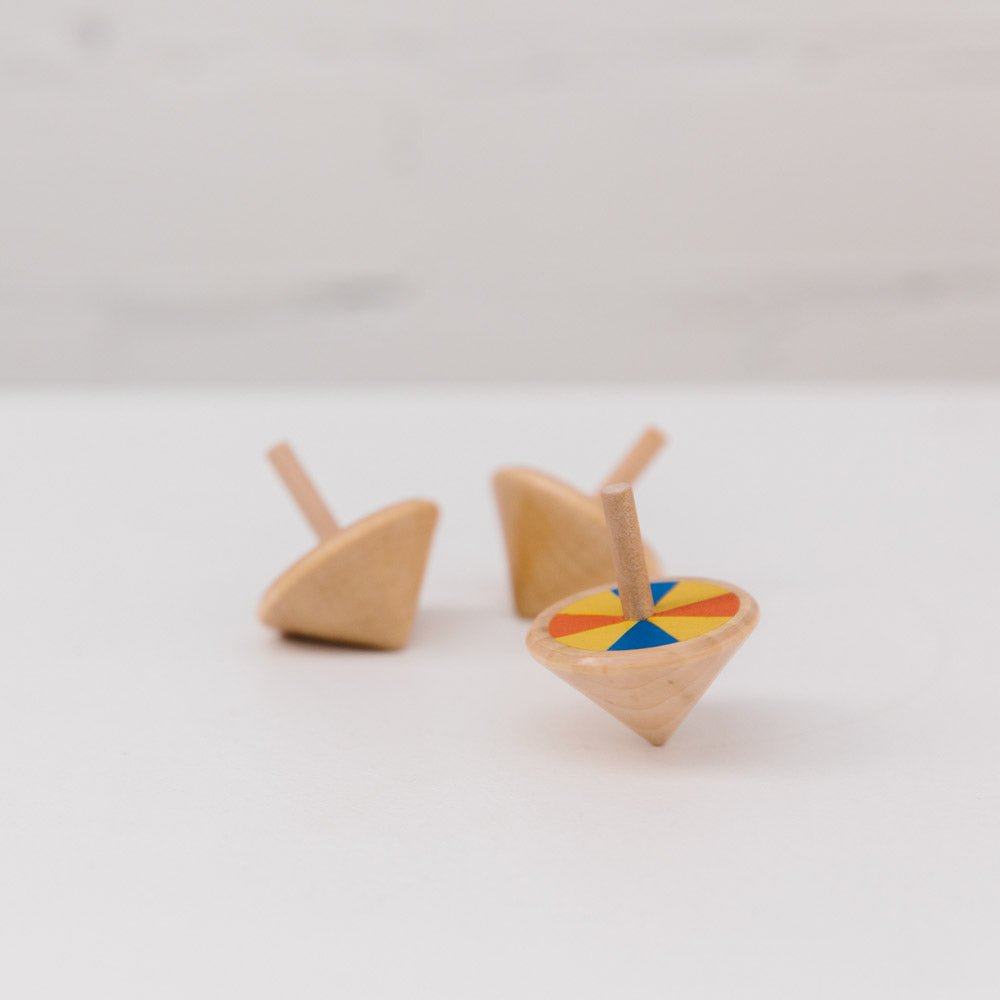 make me iconic wooden toy loose change series spinning top
