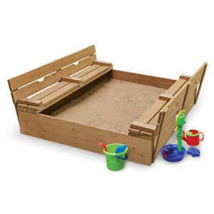 Badger Basket Covered Convertible Cedar Sandbox with Two Bench Seats, Natural 09988