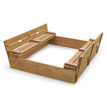 Load image into Gallery viewer, Badger Basket Covered Convertible Cedar Sandbox with Two Bench Seats, Natural 09988