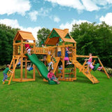 Gorilla Playset Pioneer Peak w/ Amber Posts and Standard Wood Roof