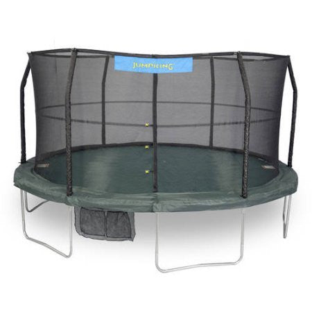 JumpKing 14' Trampoline and Enclosure Combo with Green/Black Jumping Surface