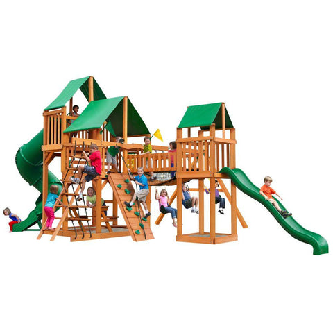 Gorilla Treasure Trove with Amber Posts and Deluxe Green Vinyl Canopy Cedar Playset