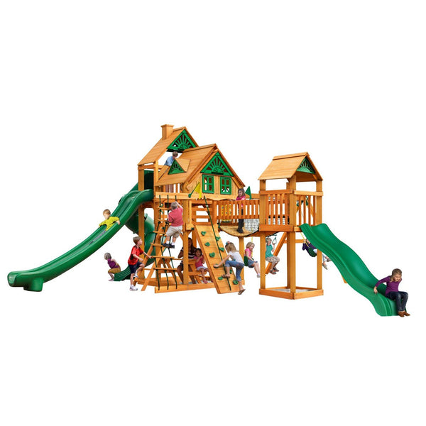 Gorilla Playsets Treasure Trove II Treehouse Swing Set with Amber Posts 01-1038-AP
