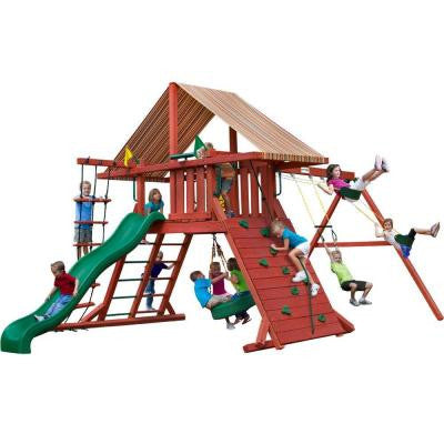 Gorilla Sun Climber I Swing Set with Sunbrella Brannon Redwood Canopy | 01-0026