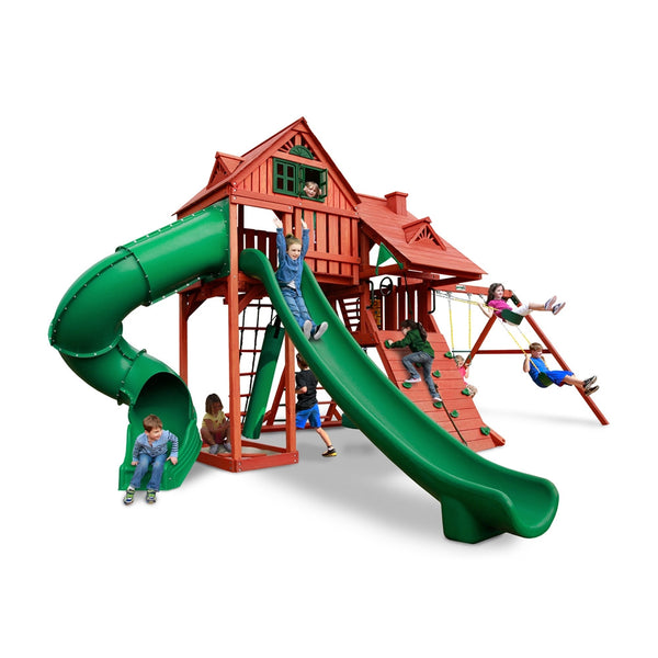 Gorilla Playsets Sun Palace Deluxe Outdoor Wooden Swing Set