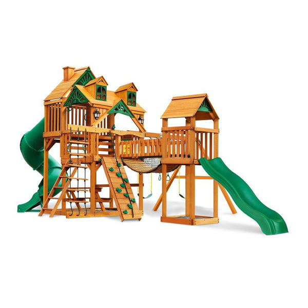Gorilla Playsets Malibu Treasure Trove I Swing Set with Roof & Posts | 01-0077-AP