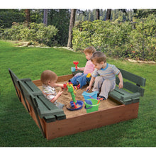 Load image into Gallery viewer, Badger Basket Covered Convertible Cedar Sandbox with Two Bench Seats, Natural/Green 99870