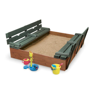 Badger Basket Covered Convertible Cedar Sandbox with Two Bench Seats, Natural/Green 99870