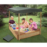 Badger Basket Tropical Fun Bamboo Sandbox with Canopy and Cover, Natural/Green 99898