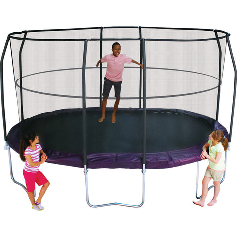 Bazoongi JumpPod 8 x 14 ft. Premium Oval Trampoline with Enclosure