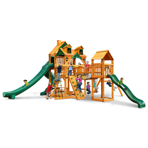 Malibu Treasure Trove II Swing Set with Amber Posts Cedar by Gorilla Playsets