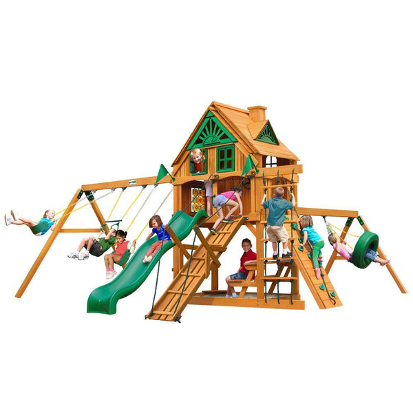 Gorilla Frontier Treehouse with Fort Add-On and Amber Posts Cedar Playset