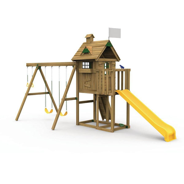 The Little Sprout Playhouse with Swing Beam, Riser Kit and Scoop Slide