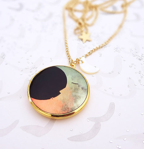 Two Moons Locket - Gold