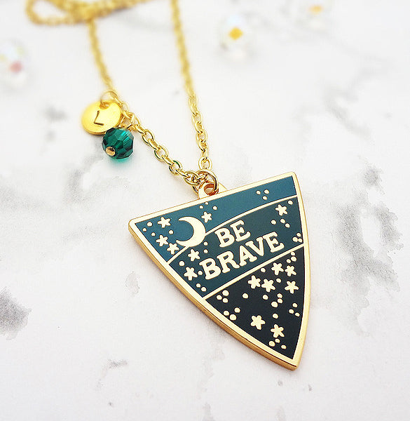 Be Brave Personalised Pendant - Gold