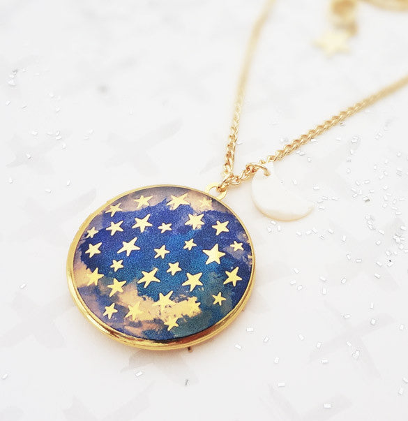 Dark is the Night Locket - Gold