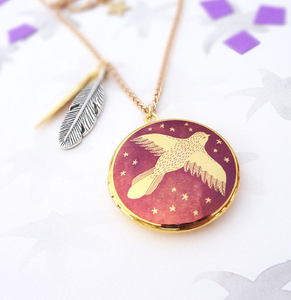 Spread Your Wings Locket - Gold
