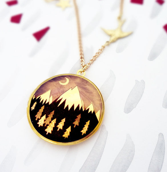 Always Over the Mountain Locket - Gold