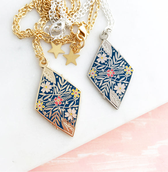**NEW!** Connected Enamel Necklace - Dark Blue