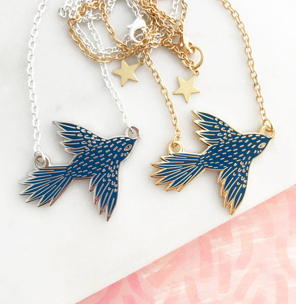 **NEW!** Flying Bird Enamel Necklace - Dark Blue
