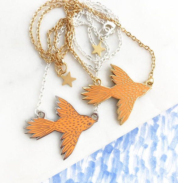 **NEW!** Flying Bird Enamel Necklace - Juicy Orange