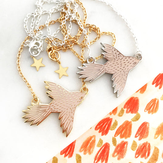 **NEW!** Flying Bird Enamel Necklace - Palest Pink