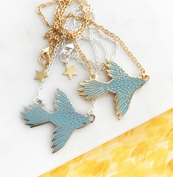 **NEW!** Flying Bird Enamel Necklace - Sky Blue