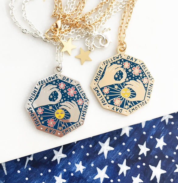 **NEW!** Night Follows Day Enamel Pendant - Dark Blue