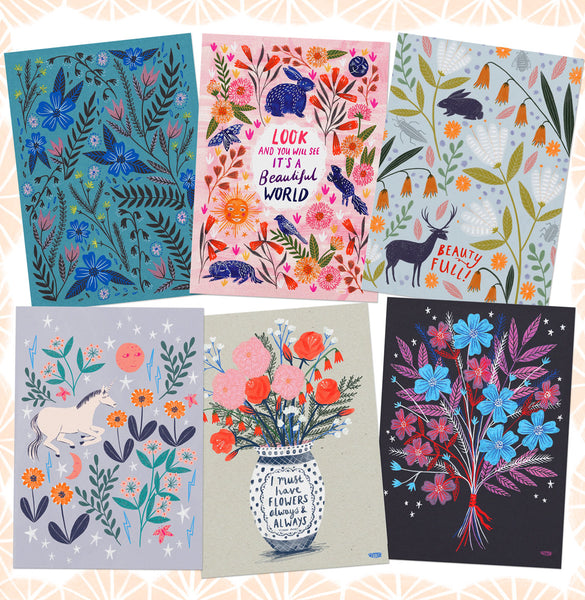 Animals and Florals Postcard Set - Blues
