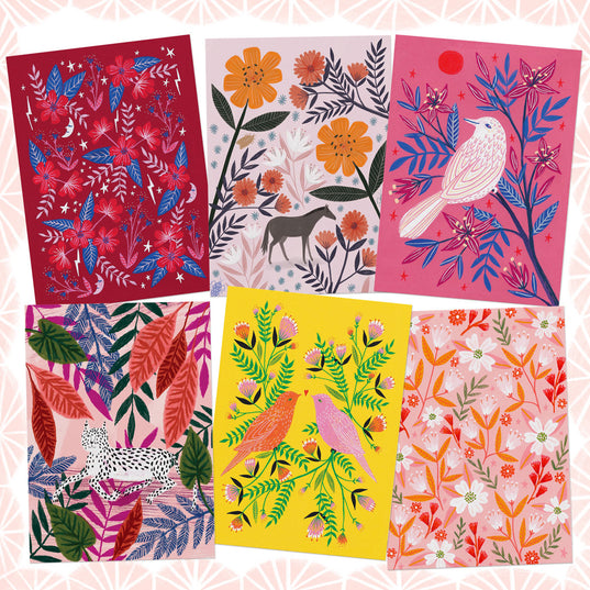 **NEW!** Animals and Florals Postcard Set - Pinks