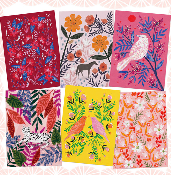 Animals and Florals Postcard Set - Pinks