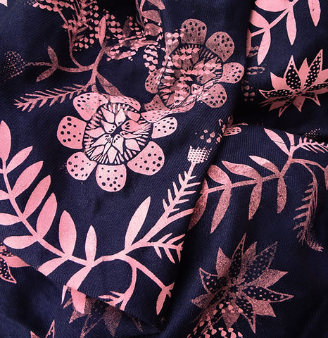 Navy Floral Pattern Scarf - 2012