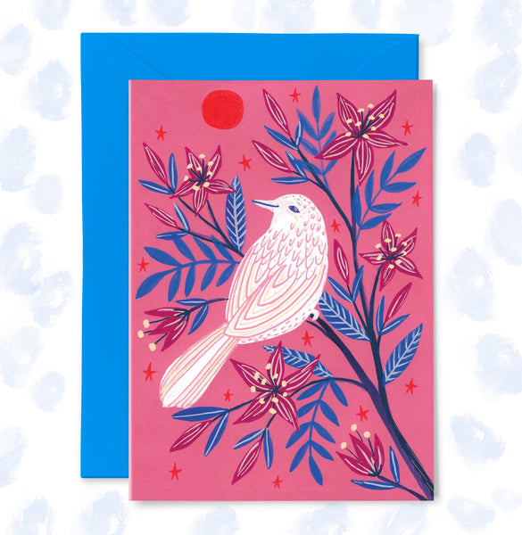 White Bird, Red Sun Greetings Card