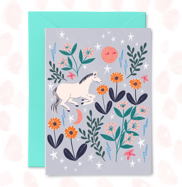 Unicorn Fields Greetings Card