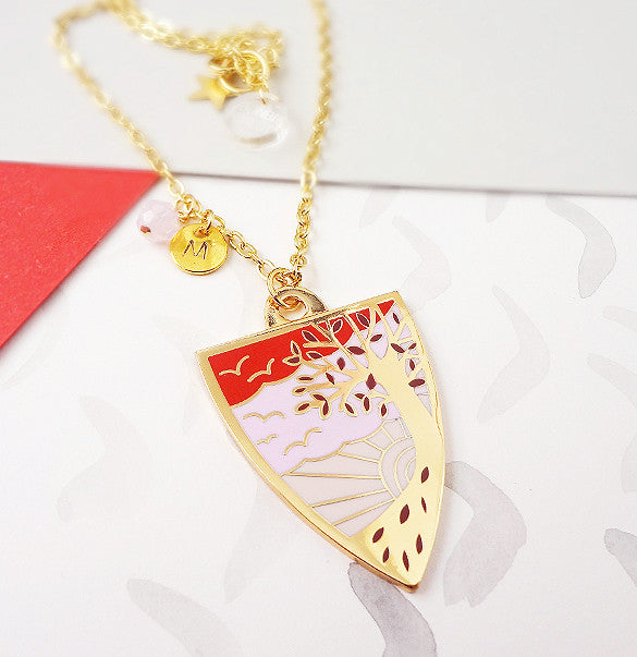 Autumn Personalised Pendant - Gold